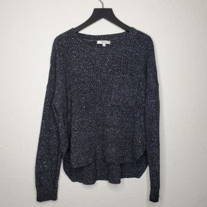 Madewell Marled Charcoal & White Knit Crop Sweater